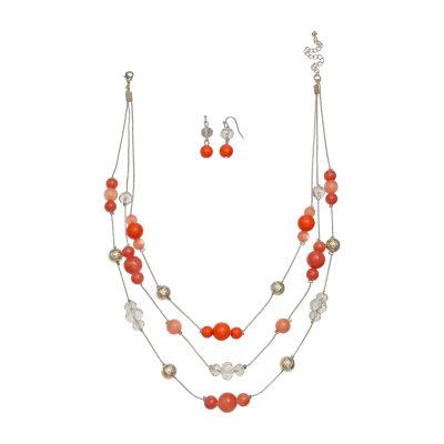 Mixit Orange Bead Illusion Genuine Gold Tone 2-pc. Jewelry Set