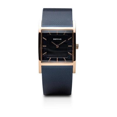 Bering Classic Womens Tank Blue Mesh Bracelet Watch-10426-367-S