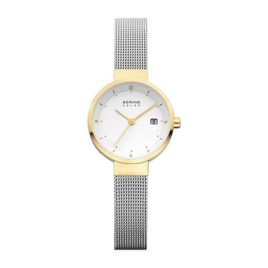 Bering Solar Womens Two Tone Mesh Bracelet Watch-14426-010