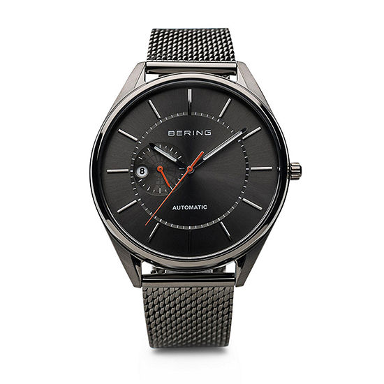 Bering Automatic Mens Gray Mesh Bracelet Watch-16243-377