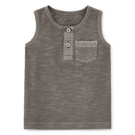Okie Dokie Boys Henley Neck Sleeveless Muscle T-Shirt - Baby
