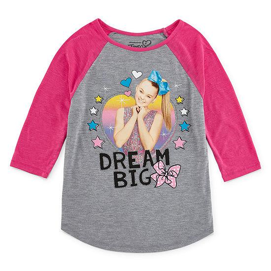 Jojo Siwa Girls Crew Neck 3/4 Sleeve Graphic T-Shirt - Preschool / Big Kid