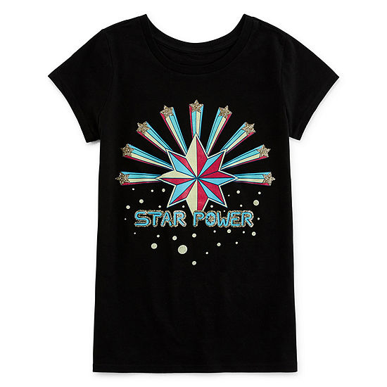 Girls Round Neck Short Sleeve Marvel Graphic T-Shirt-Big Kid