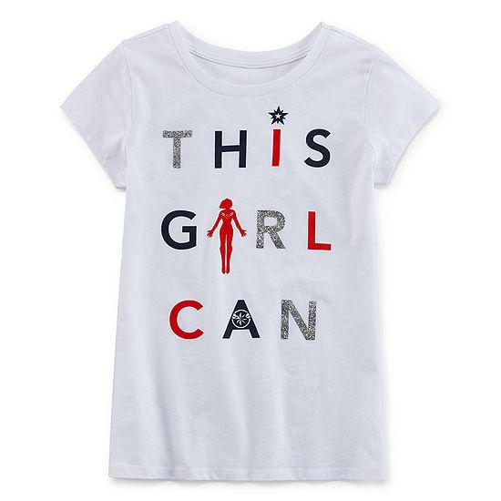 Girls Round Neck Short Sleeve Marvel Graphic T-Shirt-Big Kid