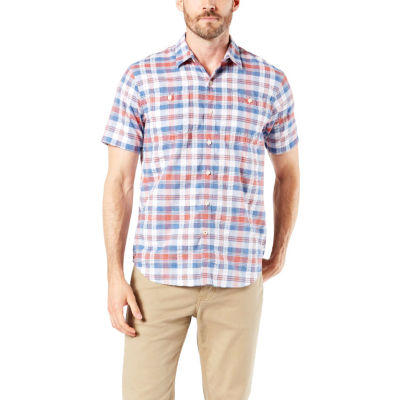 Dockers Mens Short Sleeve Moisture Wicking Plaid Button-Front Shirt