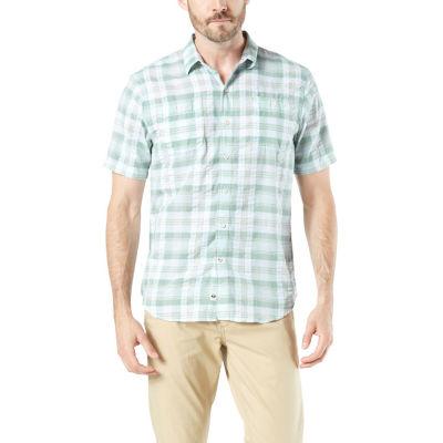 Dockers Mens Short Sleeve Moisture Wicking Plaid Button-Front Shirt