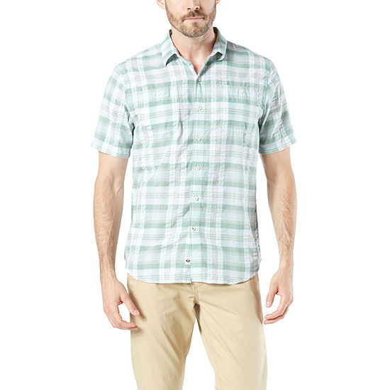Dockers Mens Short Sleeve Moisture Wicking Plaid Button Front Shirt