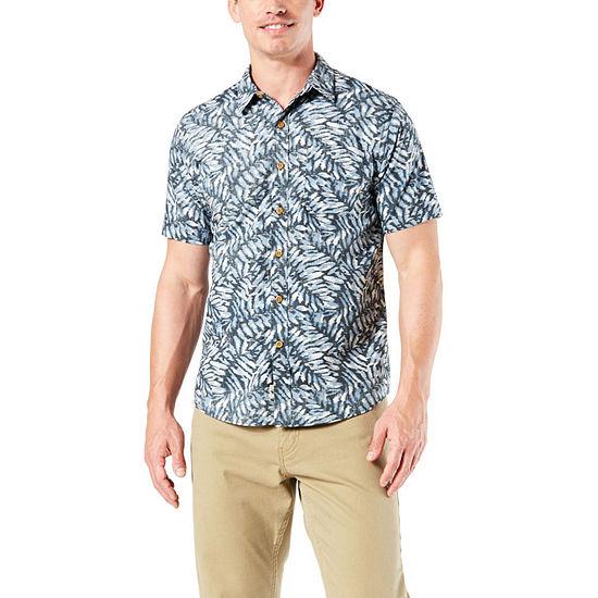 Dockers Mens Short Sleeve Moisture Wicking Leaf Button-Front Shirt