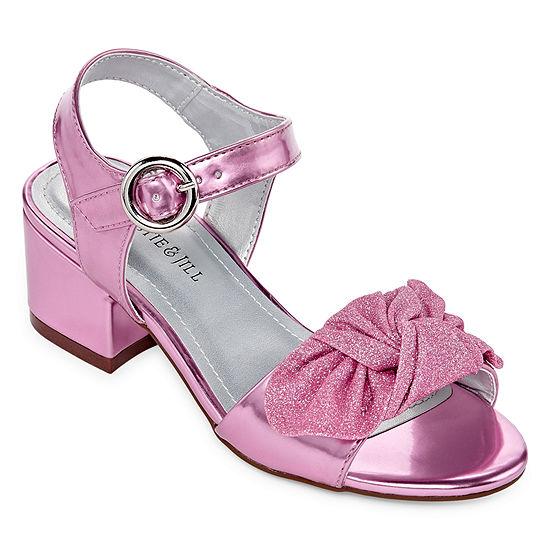 Christie & Jill Little Kids Girls Ruby Buckle Open Toe Block Heel Pumps