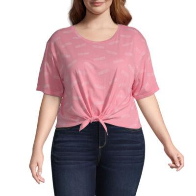 Flirtitude Womens Round Neck Short Sleeve T-Shirt Juniors Plus