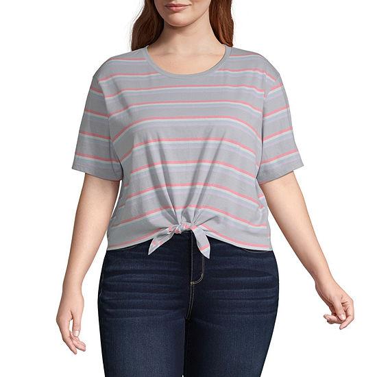 Flirtitude Womens Round Neck Short Sleeve T Shirt Juniors Plus