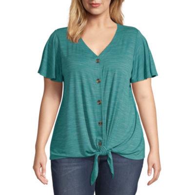 a.n.a Flutter Sleeve Button T-Shirt - Plus