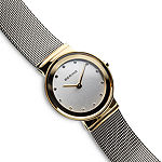 Bering Classic Womens Crystal Accent Two Tone Mesh Bracelet Watch-10126-001