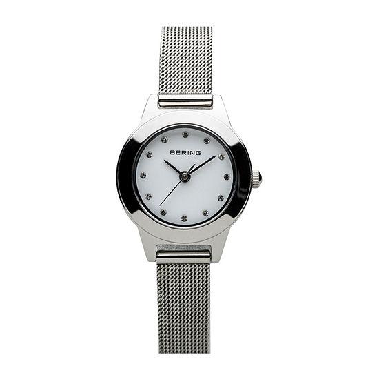 Bering Womens Crystal Silver Tone Mesh Bracelet Watch-11125-000