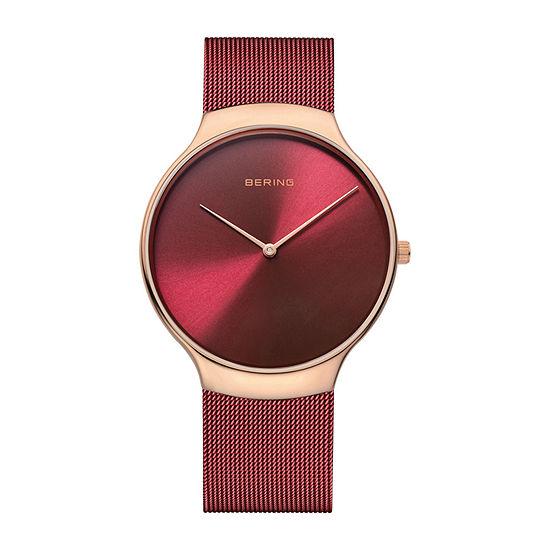 Bering Mens Red Mesh Bracelet Watch 13338 Charity