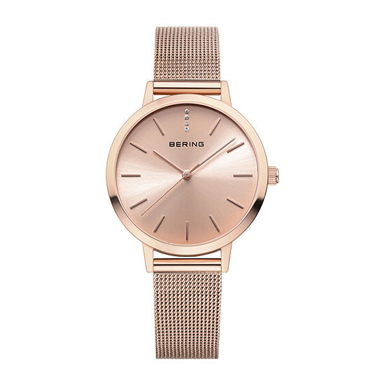 Bering Womens Rose Goldtone Crystal Accent Mesh Bracelet Watch-13434-366