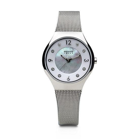 Bering Solar Womens Silver Tone Mesh Bracelet Watch-14427-004