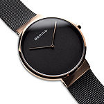 Bering Mens Two Tone Mesh Bracelet Watch-14539-166