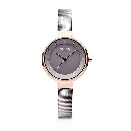 Bering Slim Solar Womens Two Tone Stainless Steel Bracelet Watch-14631-369