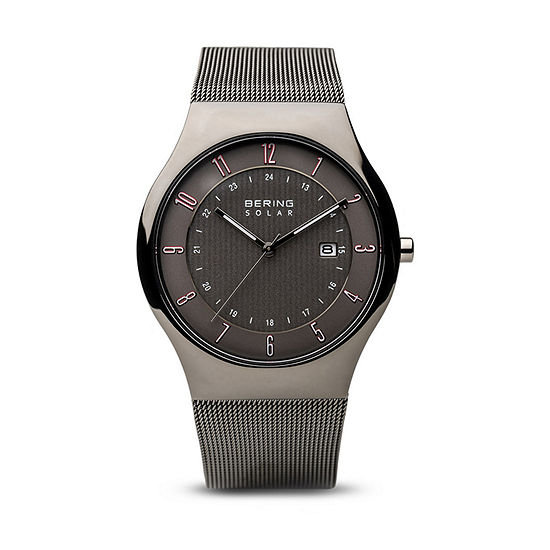 Bering Solar Mens Gray Stainless Steel Bracelet Watch-14640-077