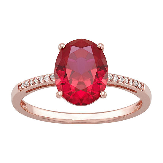 Womens Diamond Accent Lab Created Red Ruby 10K Rose Gold Cocktail Ring