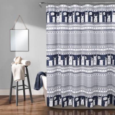 Lush Decor Llama Stripe Shower Curtain
