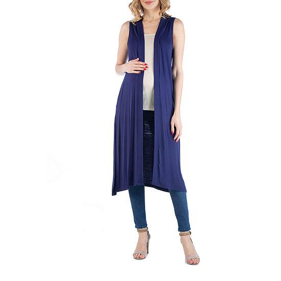 24/7 Comfort Apparel Sleeveless Long Cardigan with Side Slit