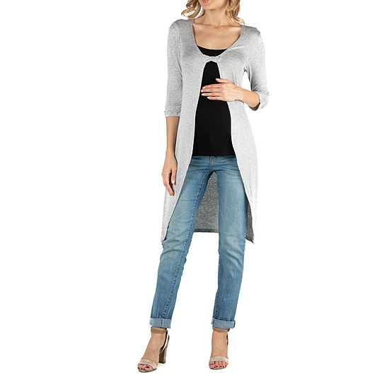 24/7 Comfort Apparel 3/4 Sleeve Cardigan with Fabric Twist