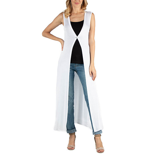 24/7 Comfort Apparel V Neck Sleeveless Duster Vest Cardigan