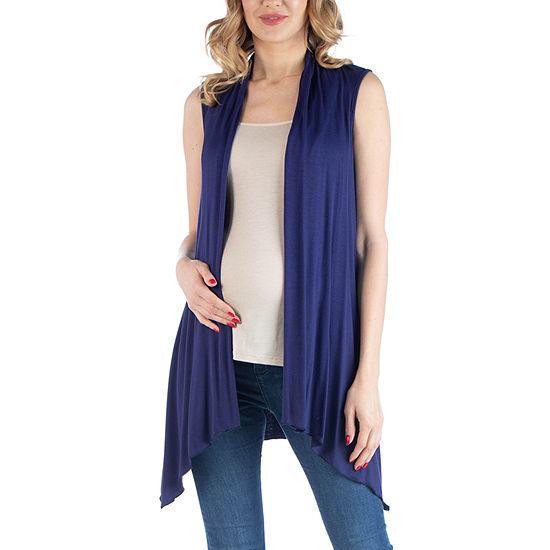 24/7 Comfort Apparel Draped Open Front Sleeveless Cardigan