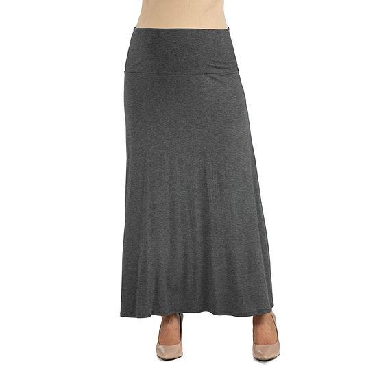 24/7 Comfort Apparel Elastic Waist Solid Color Maxi Skirt