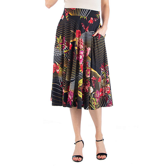 24/7 Comfort Apparel Floral Midi Skirt with Pockets