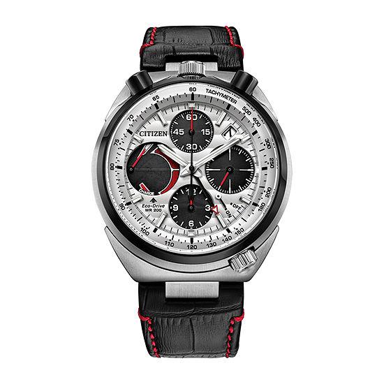 Citizen Promaster Tsuno Racer Mens Chronograph Black Leather Strap Watch-Av0071-03a