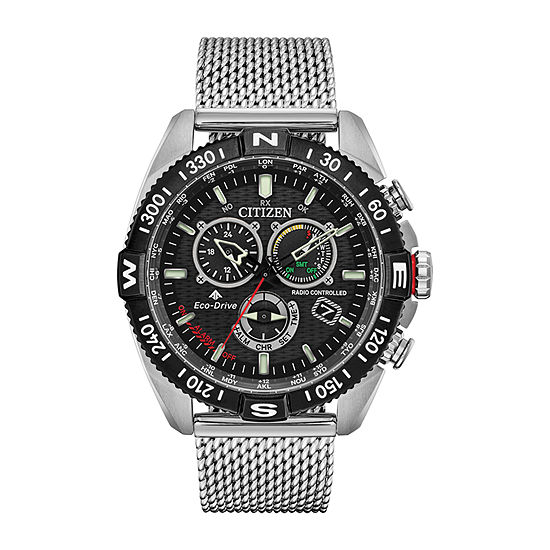 Citizen Promaster Navihawk A-T Mens Silver Tone Stainless Steel Bracelet Watch - Cb5840-59e