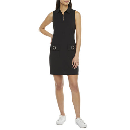 70s Dresses – Disco Dress, Hippie Dress, Wrap Dress MSK Sleeveless Shift Dress X-large  Black $33.74 AT vintagedancer.com