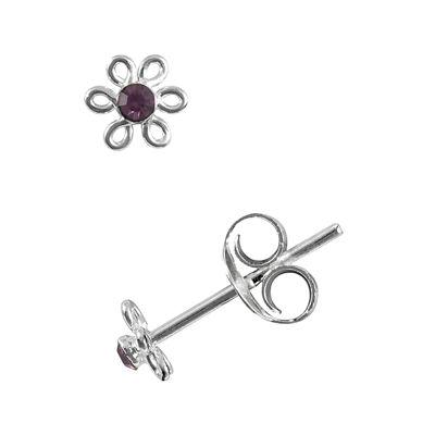 itsy bitsy™ Purple Crystal Sterling Silver Flower Stud Earrings