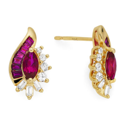 Lab-Created Ruby& Lab-Created White Sapphire 14K Gold Over Sterling Silver Earrings