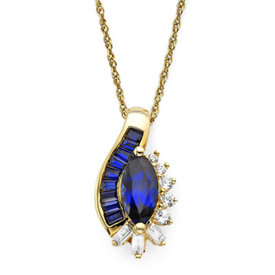 Blue and White Lab-Created Sapphire 14K Gold Over Silver Pendant Necklace