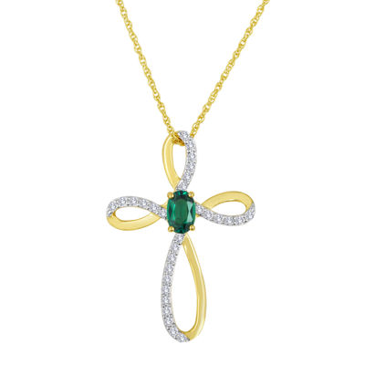 Lab-Created Emerald and White Sapphire Cross Pendant Necklace