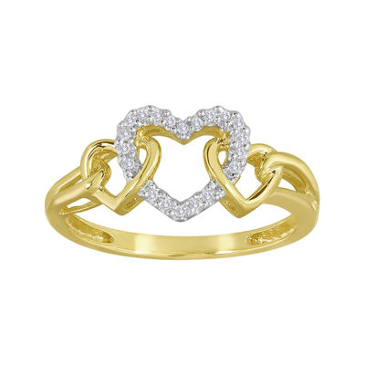 Diamond-Accent 10K Yellow Gold Triple-Heart Ring