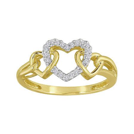 Diamond-Accent 10K Yellow Gold Triple-Heart Ring, 7