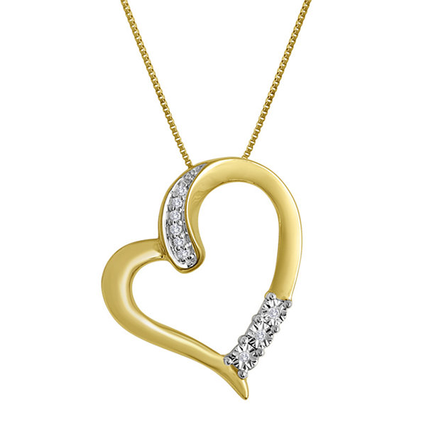 Diamond-Accent 10K Yellow Gold Tilted Openwork Heart Pendant