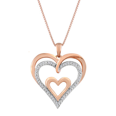 1/10 CT. T.W. Diamond Openwork Triple-Heart Pendant Necklace