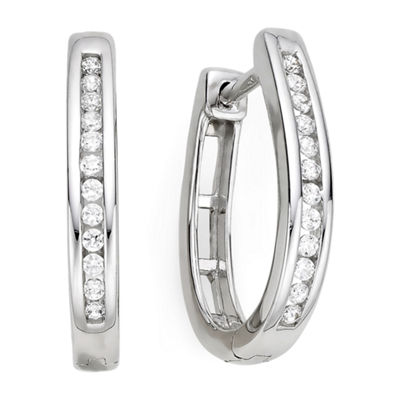 1/4 CT. T.W. Diamond Sterling Silver Hoop Earrings