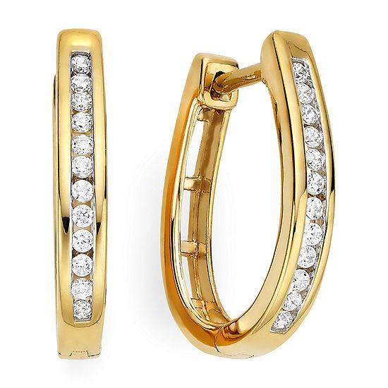 T W 14k Yellow Gold Over Silver Diamond Hoop Earrings