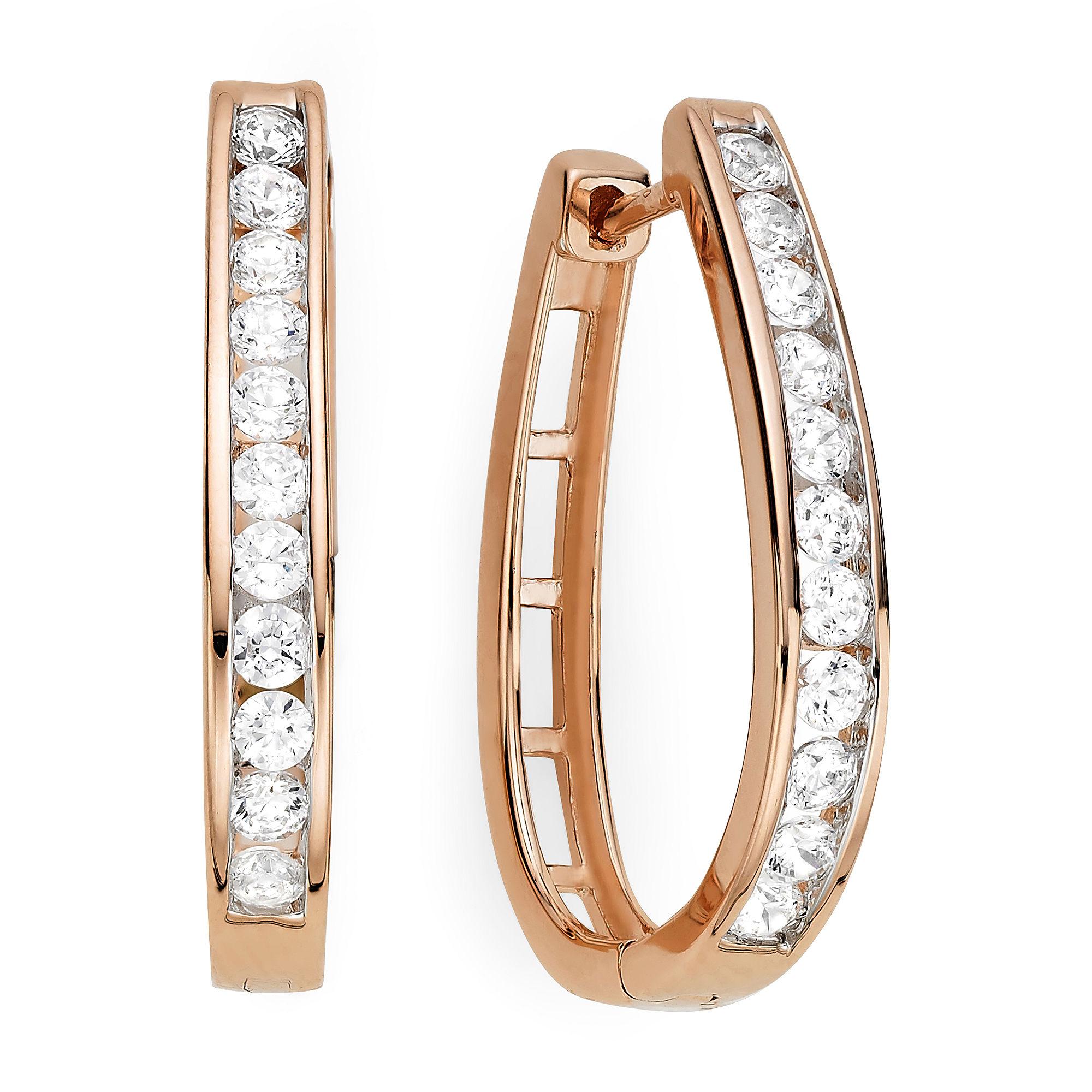 1 CT. T.W. Diamond 14K Rose Gold Over Sterling Silver Hoop Earrings