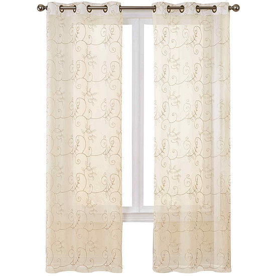 Hanson 2-Pack Embroidered Grommet-Top Curtain Panels