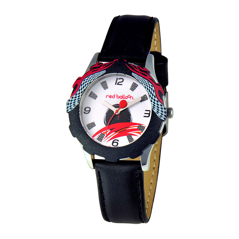 Red Balloon™ Boys' Black Racing Leather Strap Watch