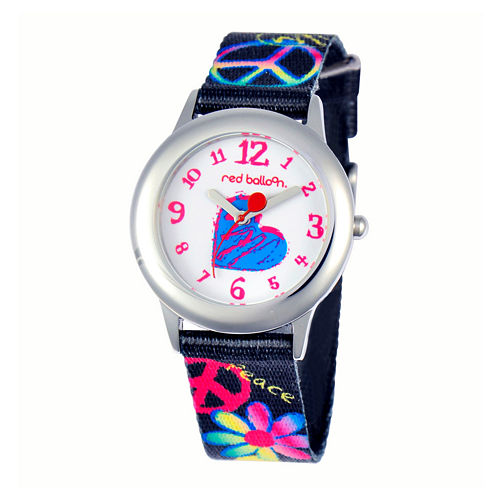 Red Balloon™ Girls' Black Peace Sign Strap Watch