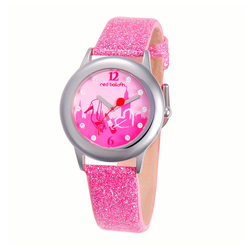 Red Balloon™ Girls' Glitter Pink Leather Strap Watch